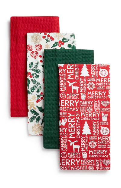 Christmas Tea Towel 4Pk