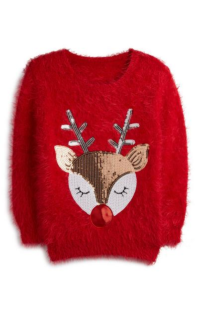 Red Fluffy Sequin Rudolph Jumper