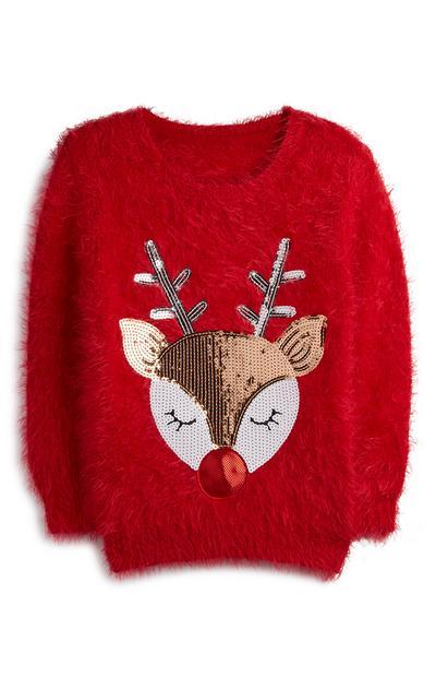 Flauschiger Pullover mit Pailletten-Rentier