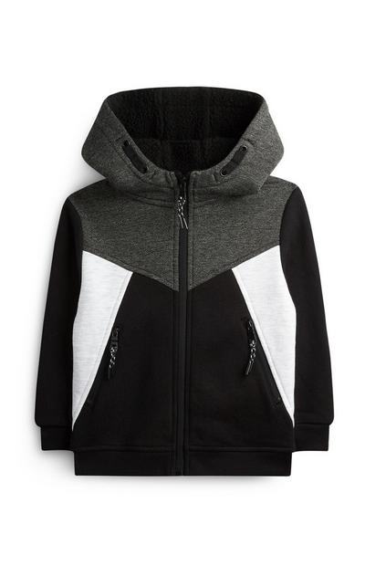 Younger Boy Charcoal Borg Lined Hoodie