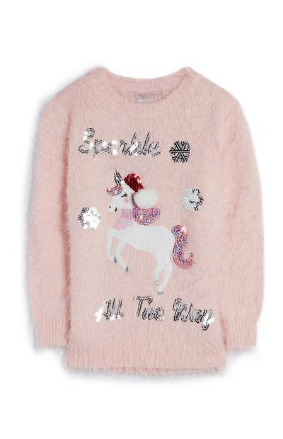 Older Girl Pink Fluffy Sparkle All The Way Unicorn Jumper