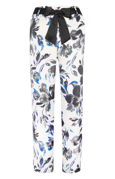 Satin Lily Print Trousers