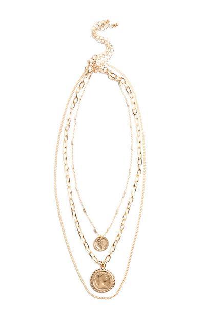 Mehrreihige Halskette mit Medaillon