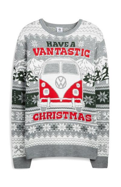 """Grauer Weihnachtspullover mit """"Have A Vantastic Volkswagen""""-Motiv"""