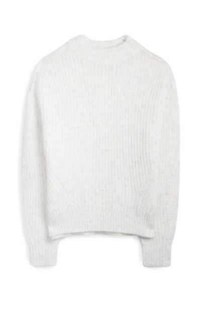 White Ribbed Turtle Neck Jumper