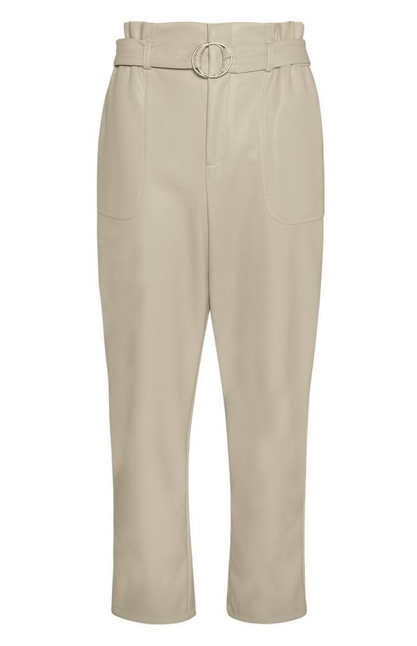 Ecru Belted Paperbag Trousers
