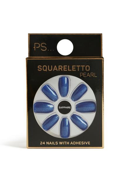 Sapphire Squareletto Nails