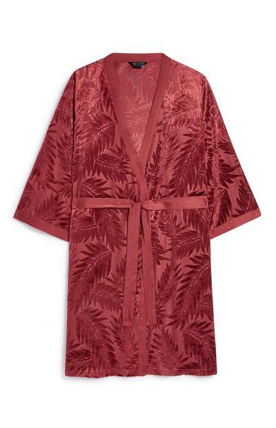 Red Satin Leaf Kimono