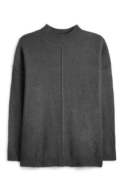 Grey Reverse Seam Turtle Neck Jumper