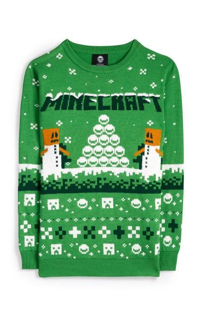 Older Boy Green Minecraft Christmas Jumper