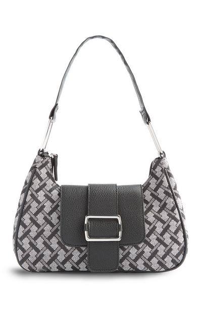 Black And Grey Tile Print Shoulder Bag