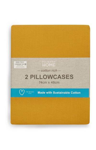 Sustainable Mustard Pillowcases 2Pk