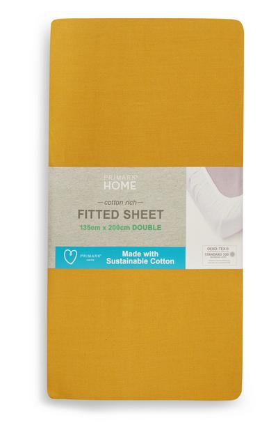 Sustainable Mustard Double Fitted Sheet