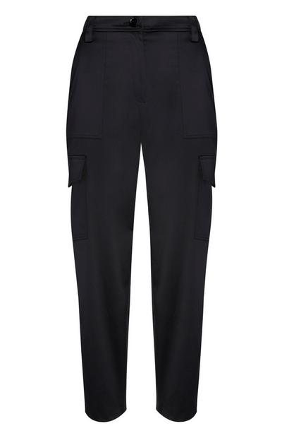 Black Satin Trousers With Pockets