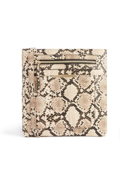 Snake Print Large Messenger Bag
