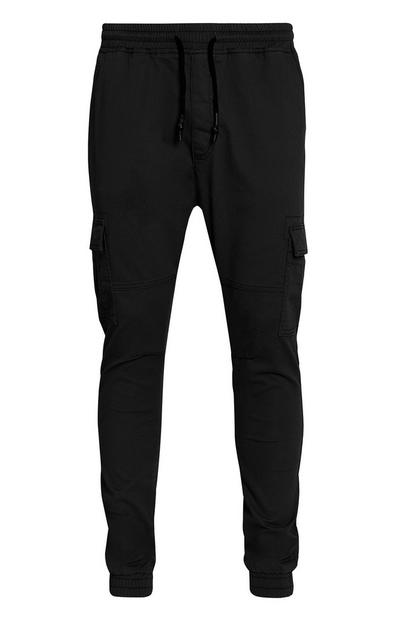Cuffed Black Cargo Trousers