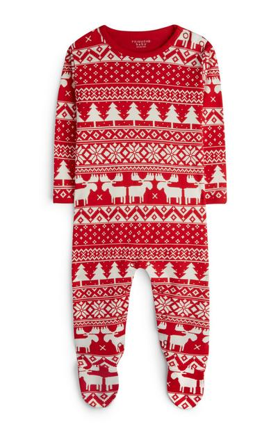 Newborn Red Fair Isle Sleepsuit