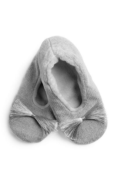 Grey Tassel Front Slipper Sock