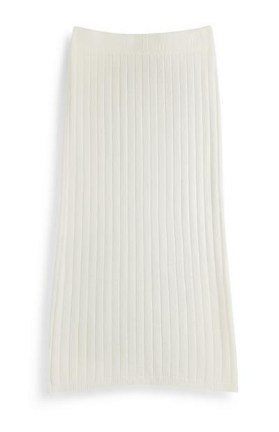White Ribbed Skirt