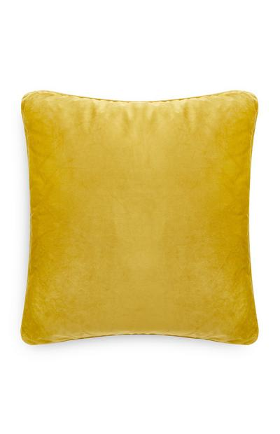Yellow Velvet Piped Edge Cushion