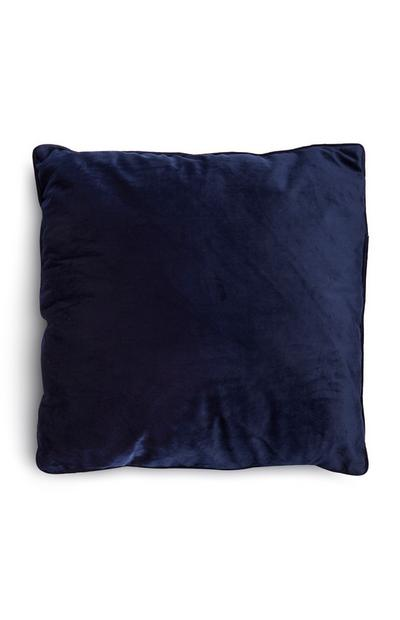 Blue Velvet Square Pillow With Piped Lining