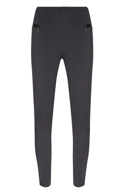 Charcoal Ponte Leggings With Zip Pockets