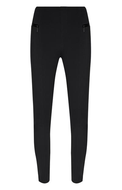 Black Ponte Leggings With Zip Pockets