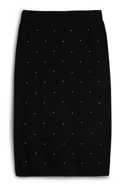 Black Midi Pearl Knit Skirt