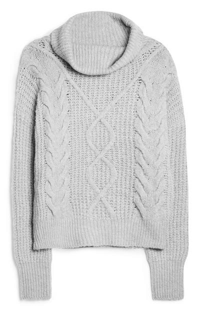 Light Grey Cable Knit Roll Neck Jumper
