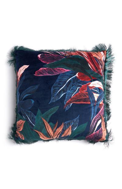 Blue Velvet Leaf Printed Cushion Tassle Fringe Cushion
