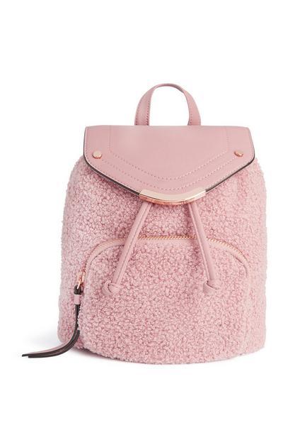 Flauschiger Rucksack in Rosa