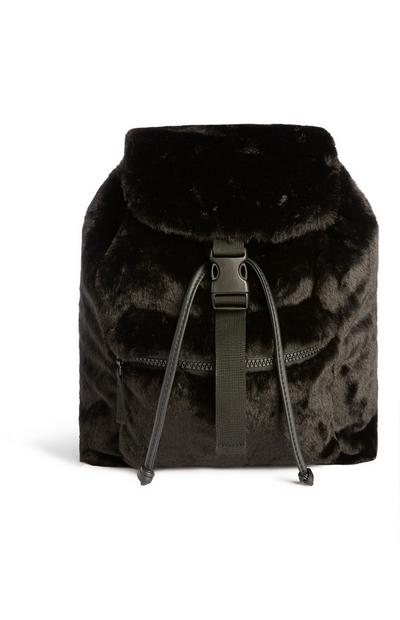 Black Fluffy Backpack