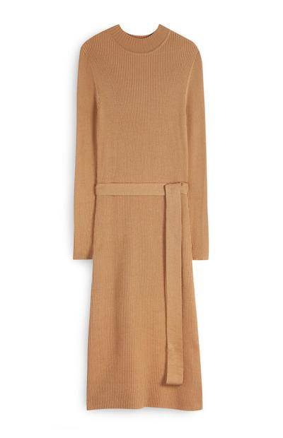 Camel Belted Midi Dress