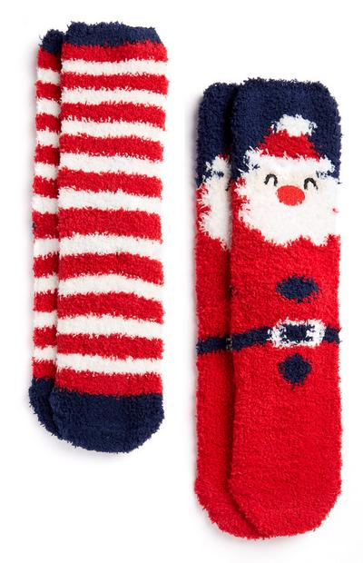Red Santa and Stripe Cosy Socks 2pk