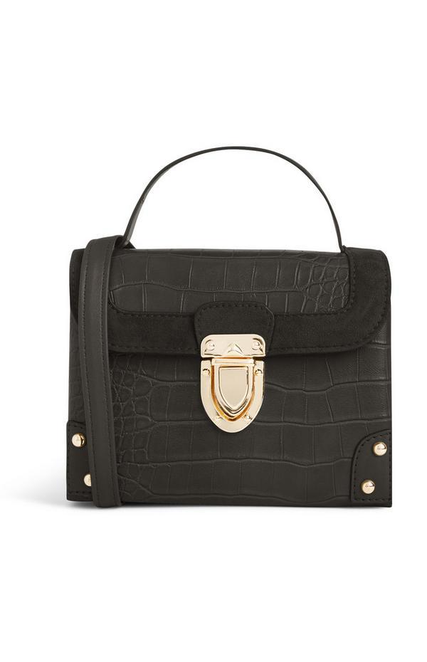 Black Croc Texture Box Bag