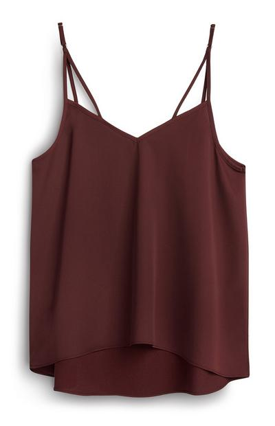 Burgundy Satin Cami Top