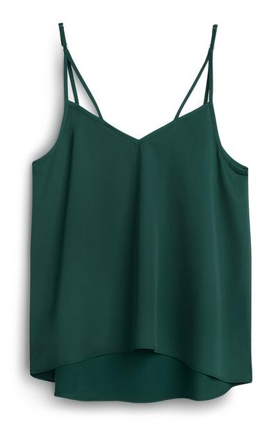 Green Satin Cami Top