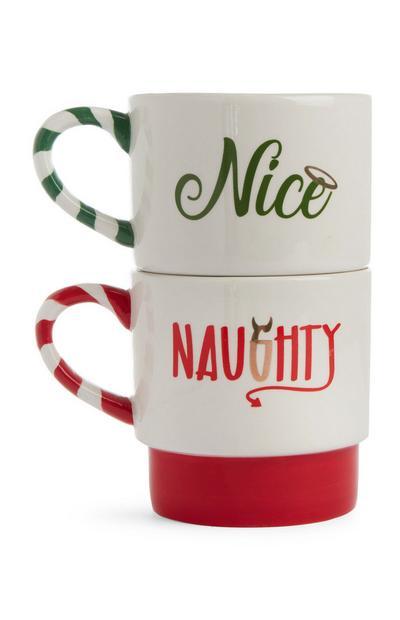 Naughty And Nice Stacked Mug Set