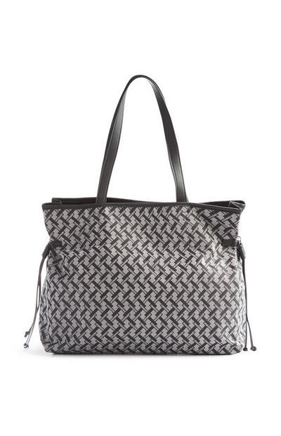 Black And Grey Tile Print Tote Bag
