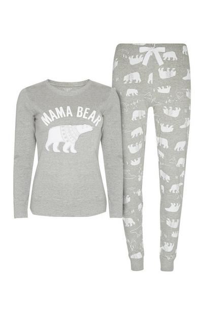 Grey Mama Bear Pyjama Set