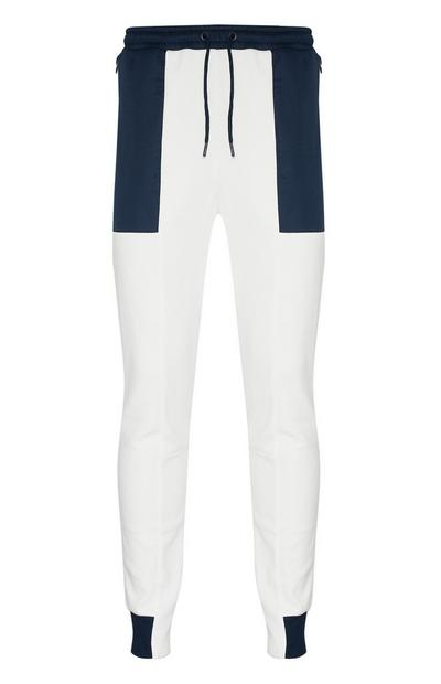 White Colour Panel Joggers