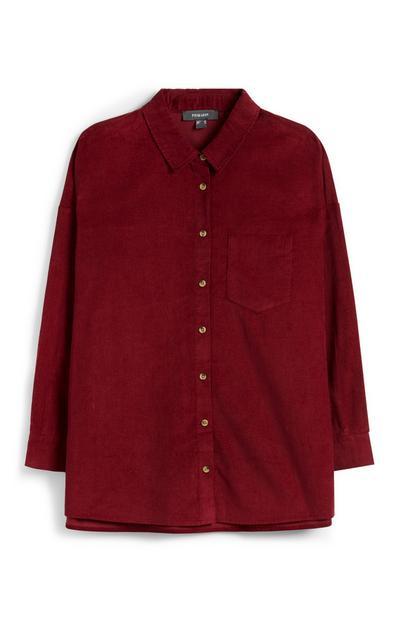 Deep Red Corduroy Shirt