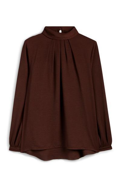 Brown Dip Hem Roll Neck Shirt