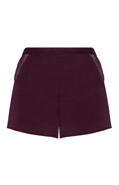 Purple Satin Shorts