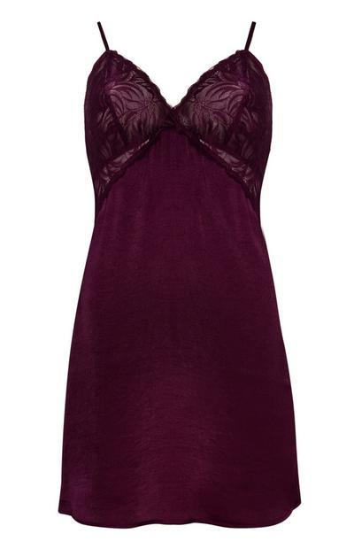Purple Satin Cami Dress