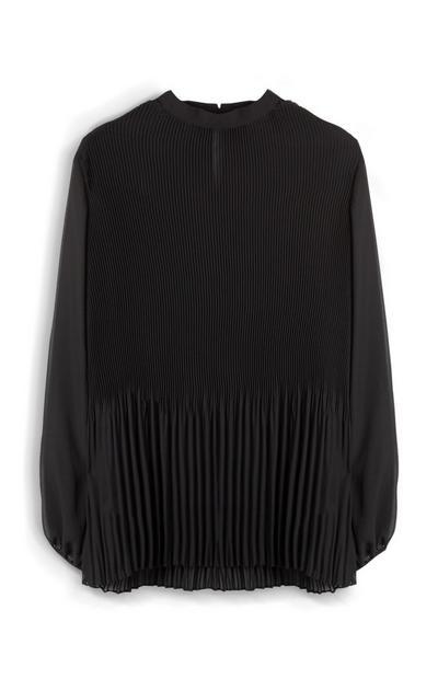 Black Pleated Sheer Shirt