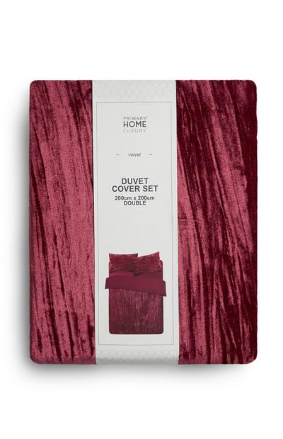 Burgundy Velvet Duvet Cover Set