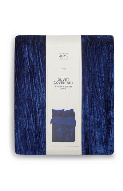 Navy Velvet King Size Duvet Cover Set