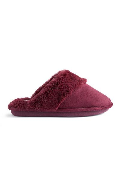 Burgundy Suede Slippers