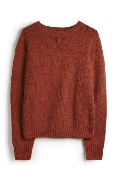 Burnt Orange Chenille Crew Neck Jumper